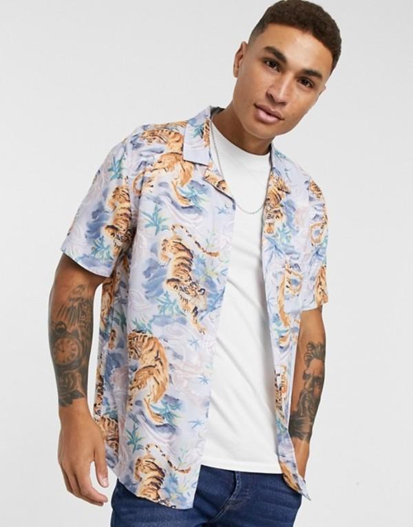 トップマン メンズ シャツ トップス Topman short sleeve revere shirt with tiger print in blue Multi