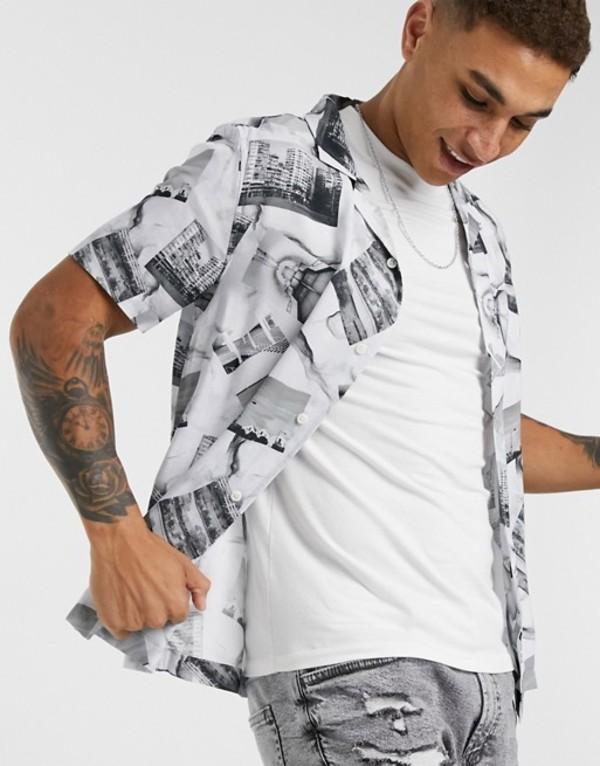 トップマン メンズ シャツ トップス Topman short sleeve shirt with photographic print in black & white Multi