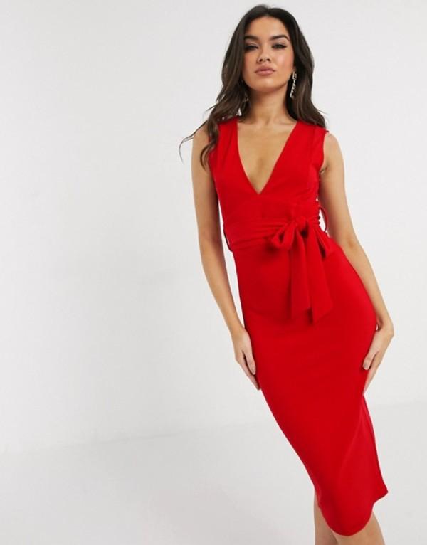 ガール イン マインド レディース ワンピース トップス Girl In Mind v neck sleeveless midi dress in red Red