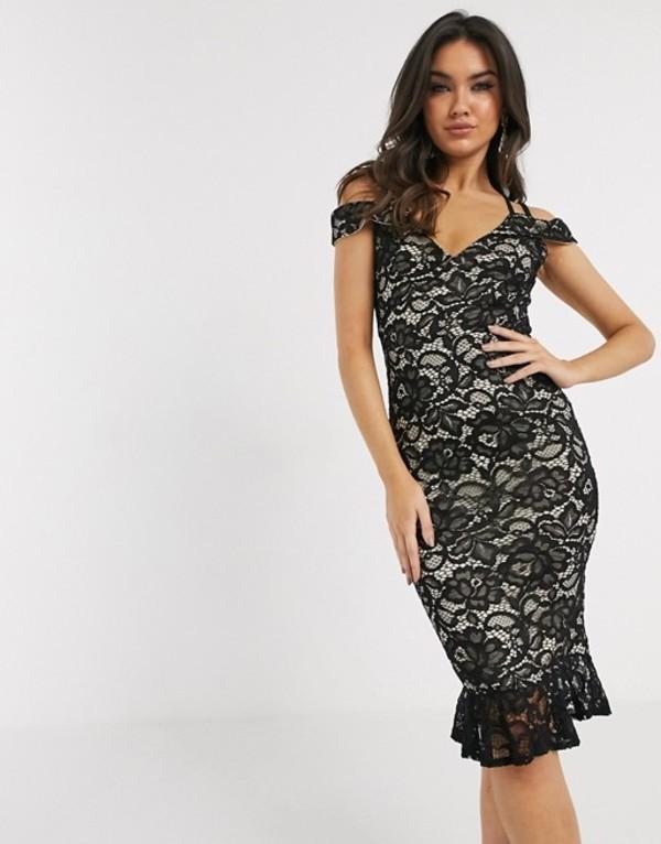 ガール イン マインド レディース ワンピース トップス Girl In Mind lace off the shoulder midi dress in black Black