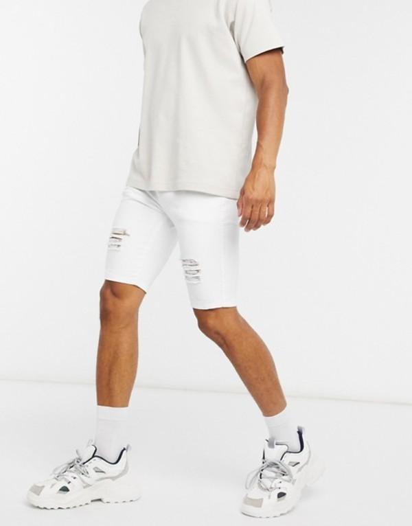 シックシルク メンズ ハーフパンツ・ショーツ ボトムス Siksilk elasticated waist distressed denim shorts in white White