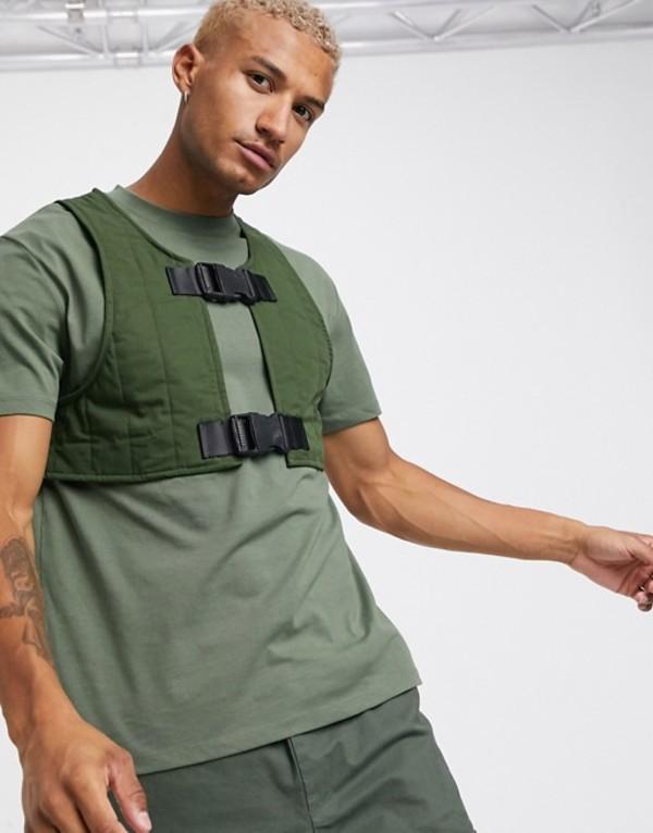 エイソス メンズ シャツ トップス ASOS DESIGN relaxed t-shirt with padded vest in khaki Khaki