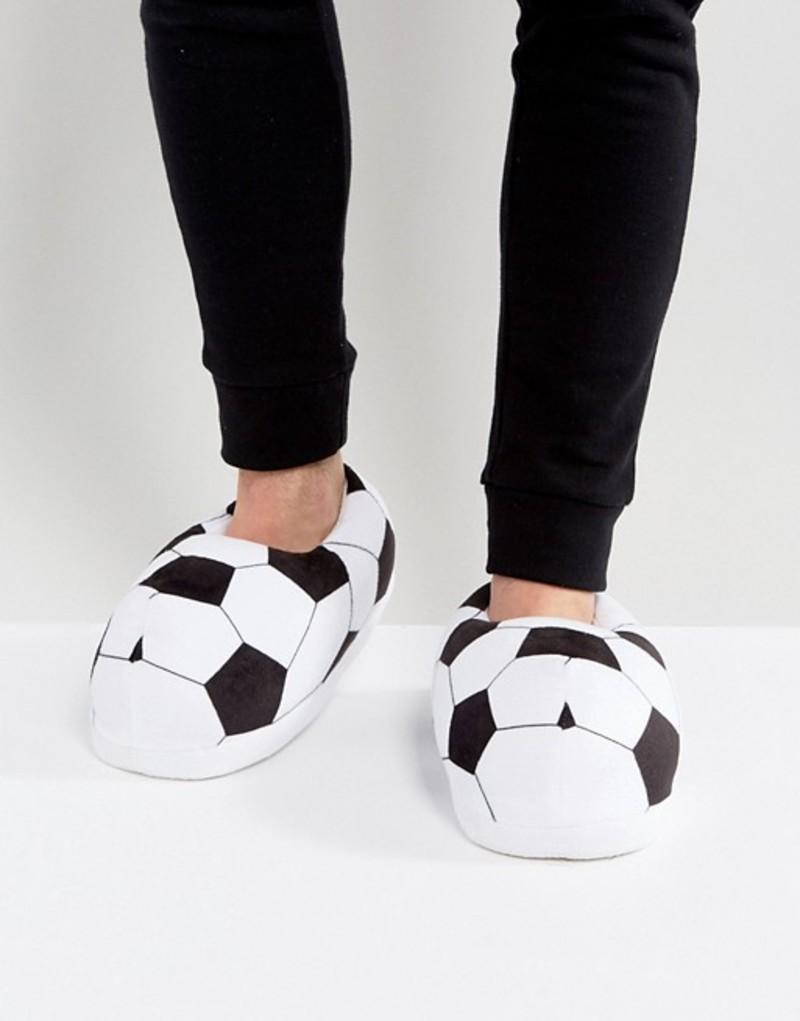 エイソス メンズ サンダル シューズ ASOS Soccer Slippers In Black and White Multi