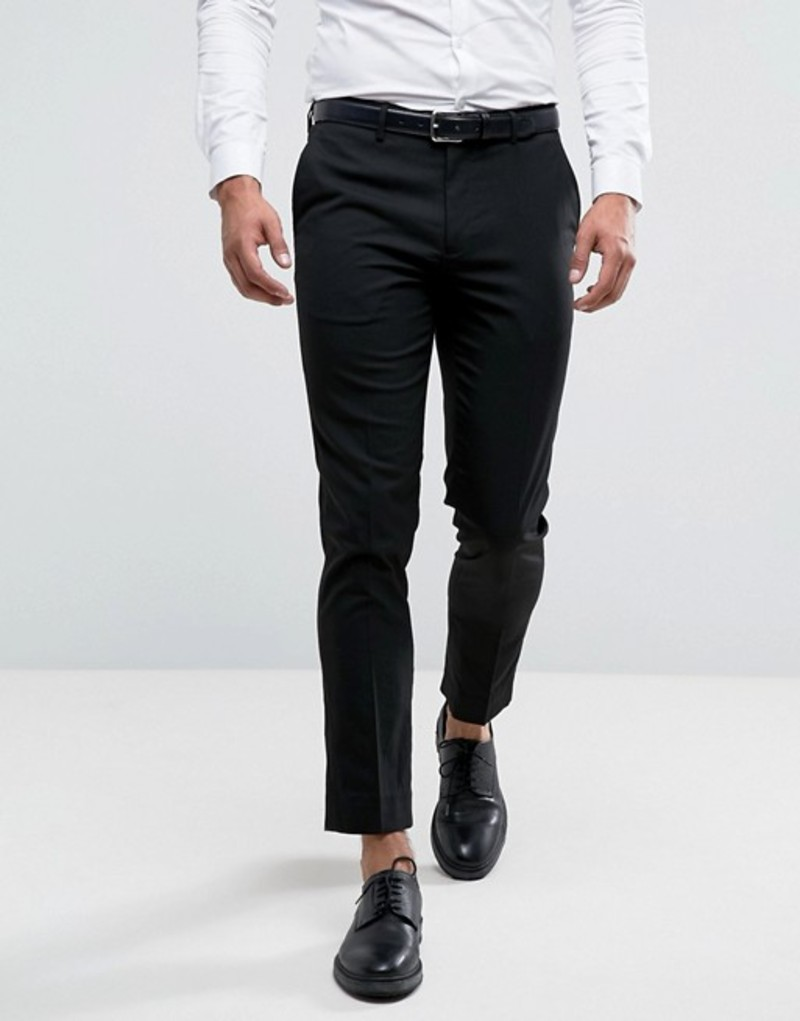 リバーアイランド メンズ カジュアルパンツ ボトムス River Island Skinny Fit Smart Pants In Black Black