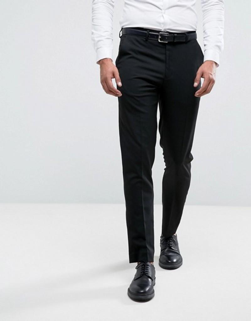 リバーアイランド メンズ カジュアルパンツ ボトムス River Island Slim Fit Smart Pants In Black Black