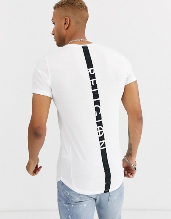 レリジョン メンズ シャツ トップス Religion curved hem t-shirt with back taping in white White