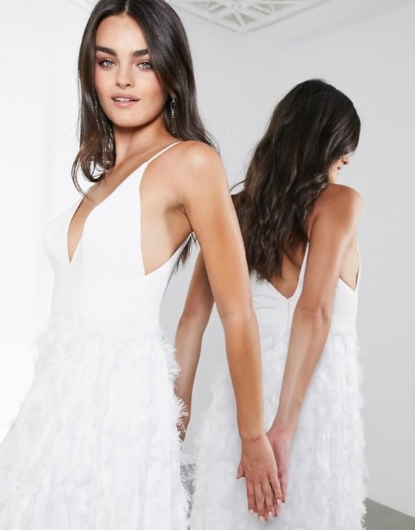 エイソス レディース ワンピース トップス ASOS EDITION Afira plunge wedding dress with feather effect skirt White