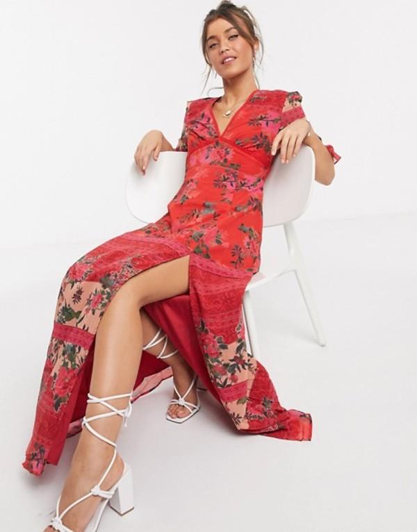ホープ&アイビー レディース ワンピース トップス Hope & Ivy plunge midaxi dress with fluted sleeves in red contrast floral Red