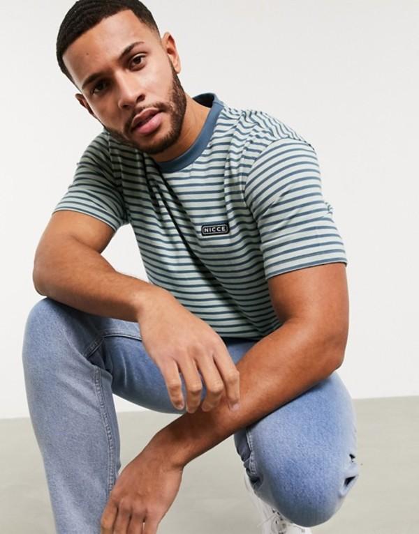 ニッチェ ロンドン メンズ シャツ トップス Nicce Riva stripe t-shirt with small logo in blue Blue
