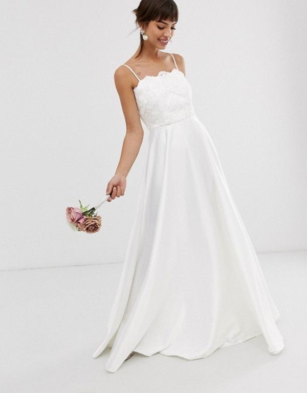 エイソス レディース ワンピース トップス ASOS EDITION beaded lace cami wedding dress with satin skirt White
