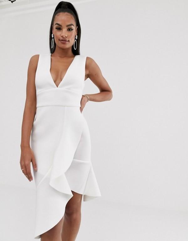 ラビッシュアリス レディース ワンピース トップス Lavish Alice v-neck ruffle wrap scuba dress in white White