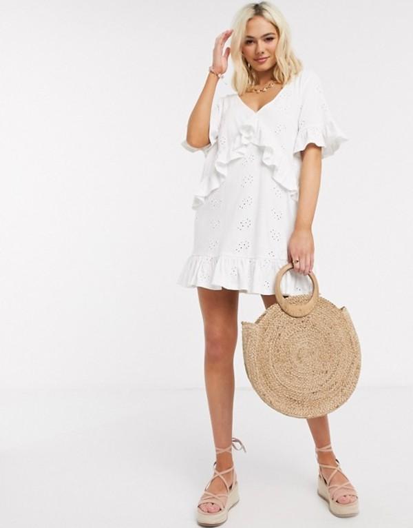 エイソス レディース ワンピース トップス ASOS DESIGN broderie v frill front smock mini dress in white White