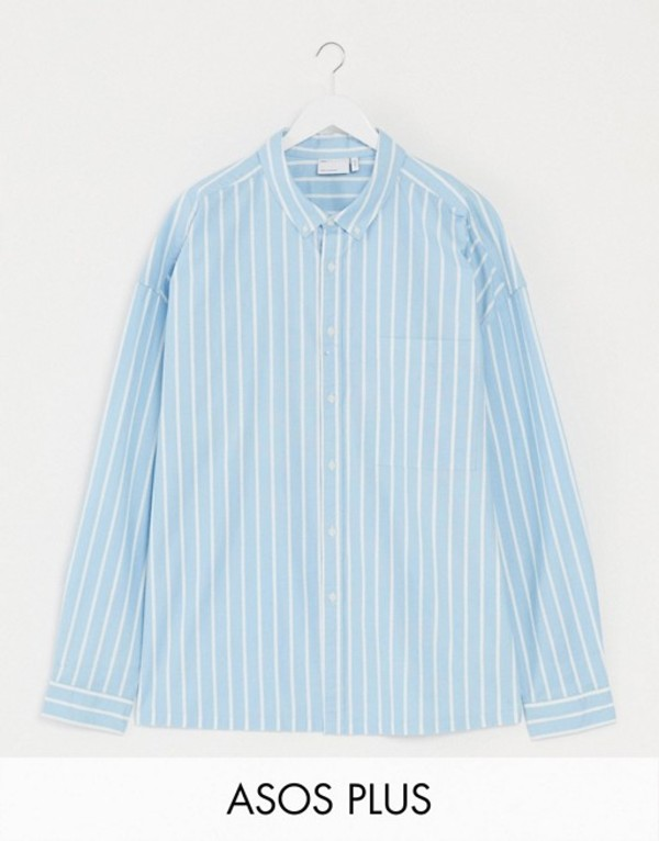 エイソス メンズ シャツ トップス ASOS DESIGN Plus 90s oversized shirt in blue oxford stripe Blue