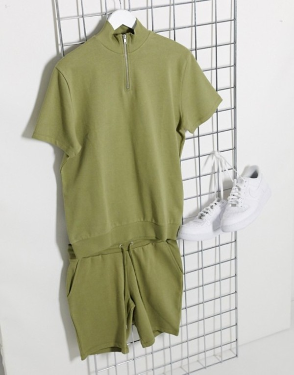 エイソス メンズ パーカー・スウェット アウター ASOS DESIGN short sleeve half zip tracksuit with shorts in khaki Dried herb
