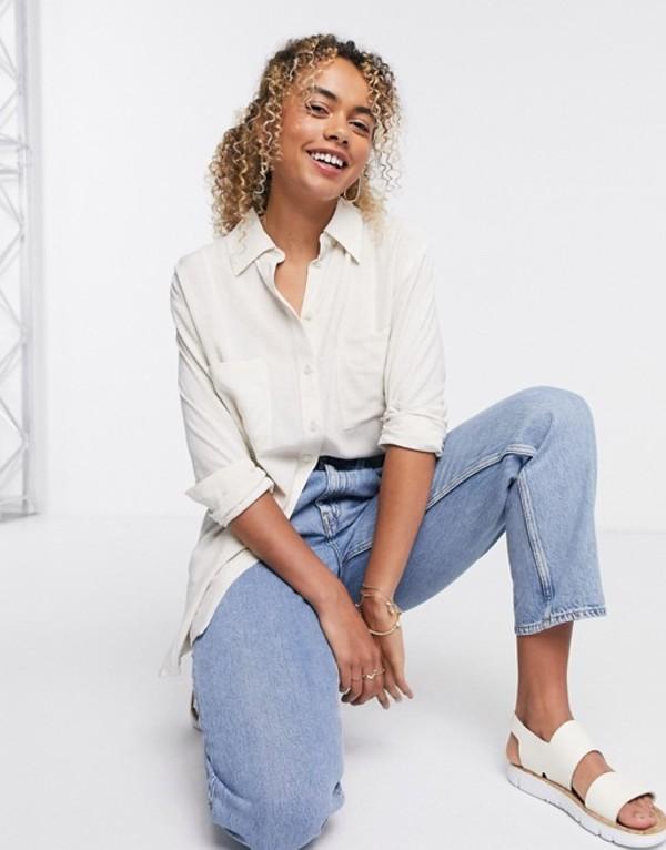 ウィークデイ レディース シャツ トップス Weekday Luna oversized linen shirt in off-white Off white melange