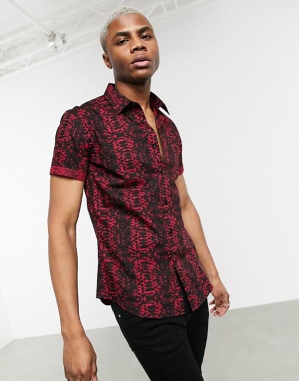デビルズ アドボケート メンズ シャツ トップス Devils Advocate crocodile print short sleeve slim fit shirt Red