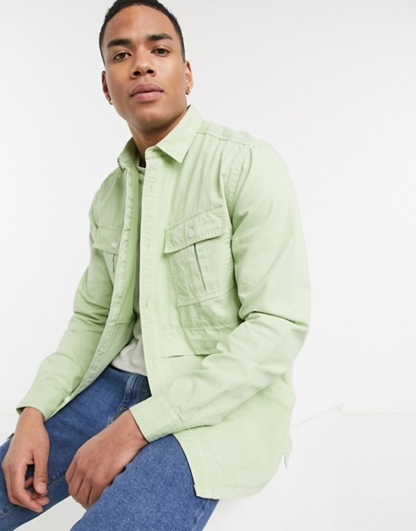 エイソス メンズ シャツ トップス ASOS DESIGN overshirt with pockets in mint green Green