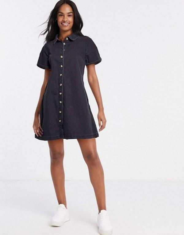 エイソス レディース ワンピース トップス ASOS DESIGN soft denim smock shirt dress in washed black Washed black