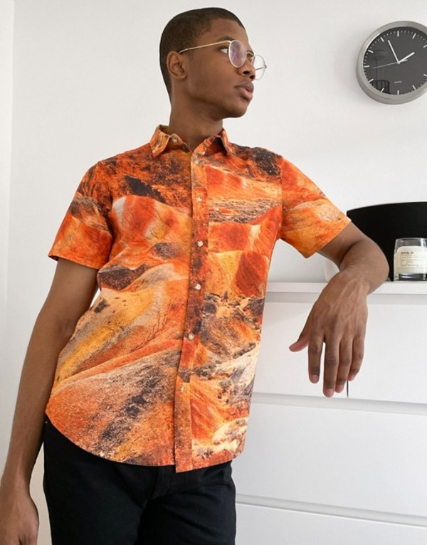 エイソス メンズ シャツ トップス ASOS DESIGN regular revere shirt in landscape marble print Orange