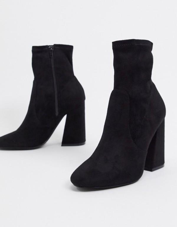 エイソス レディース ブーツ・レインブーツ シューズ ASOS DESIGN Echo heeled sock boots in black Black