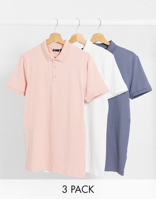 エイソス メンズ シャツ トップス ASOS DESIGN 3 pack organic muscle fit polo Wht/mr/gri