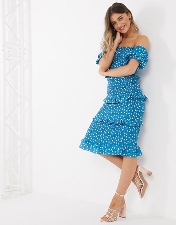アウトレイジャスフォーチュン レディース ワンピース トップス Outrageous Fortune off shoulder frilly shirred pencil dress in blue polka print Multi