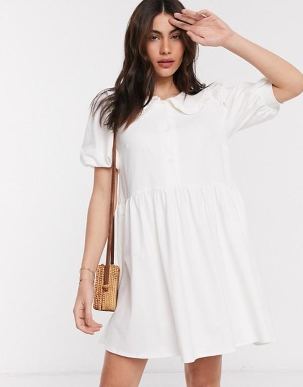 エイソス レディース ワンピース トップス ASOS DESIGN smock mini dress with prairie collar in ivory Ivory