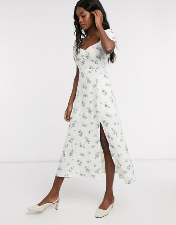 アンドアザーストーリーズ レディース ワンピース トップス & Other Stories floral printed smocked sweetheart midi dress in white Multi