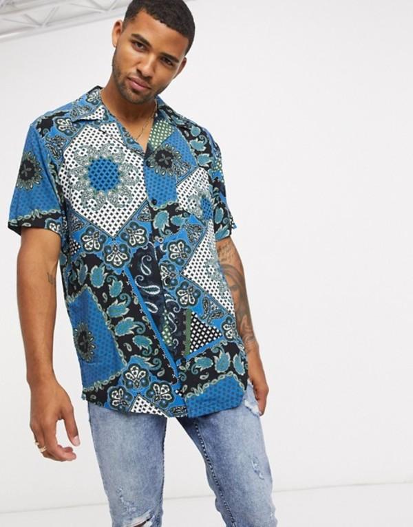 リキュールアンドポーカー メンズ シャツ トップス Liquor N Poker two-piece revere shirt in blue bandana print Blue
