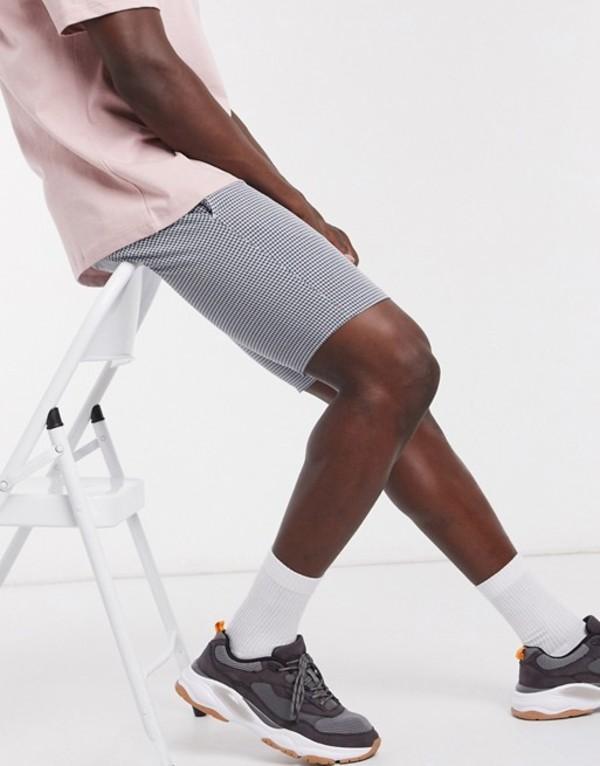 トップマン メンズ ハーフパンツ・ショーツ ボトムス Topman seersucker check shorts in blue/white Blue