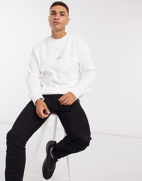 トップマン メンズ シャツ トップス Topman Signature oversized long sleeve t-shirt in white White