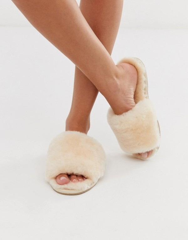 エイソス レディース サンダル シューズ ASOS DESIGN Nola premium sheepskin slippers in beige Beige