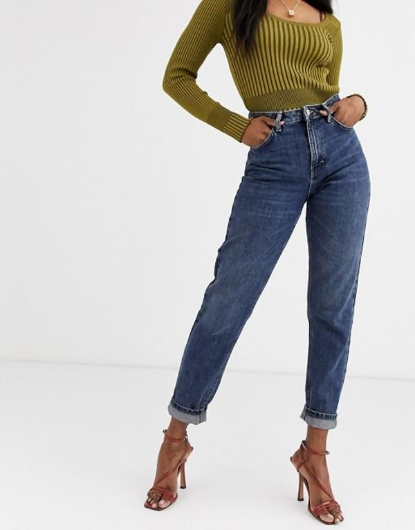 トップショップ レディース デニムパンツ ボトムス Topshop mom jeans in dark wash Blue