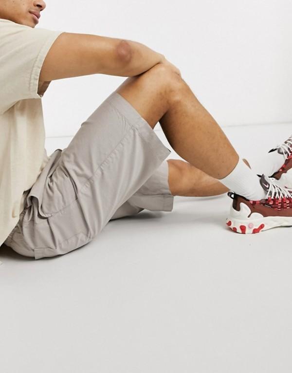 トップマン メンズ ハーフパンツ・ショーツ ボトムス Topman twill shorts in stone Mushroom