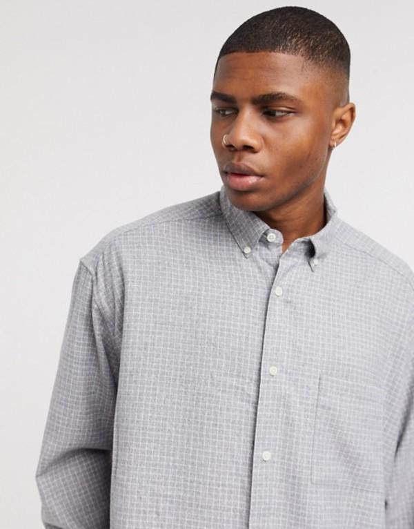 エイソス メンズ シャツ トップス ASOS DESIGN oversized wide gray and white check shirt Gray