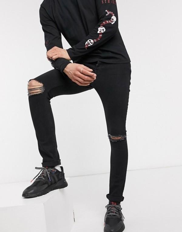 ボロンガロトレバー メンズ デニムパンツ ボトムス Bolongaro Trevor jake distressed skinny jean Black