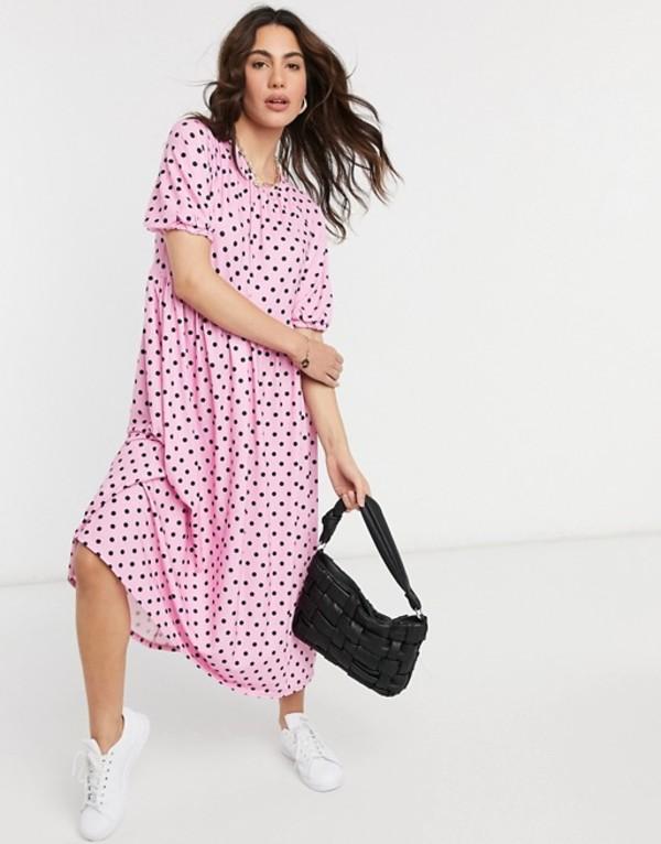エイソス レディース ワンピース トップス ASOS DESIGN gathered neck midi smock dress in pink and black spot Pink and black spot