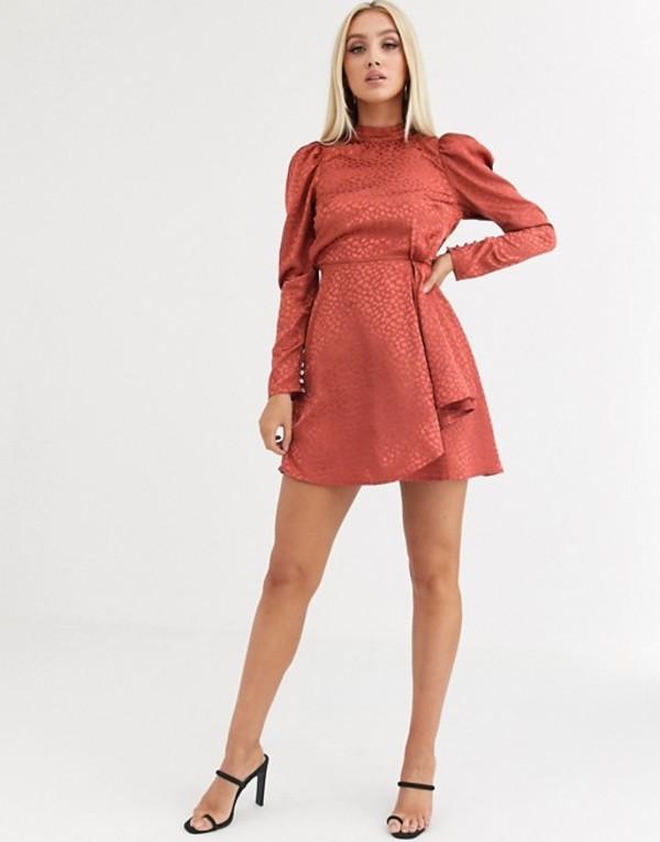エイソス レディース ワンピース トップス ASOS DESIGN high neck jacquard mini dress in rust Rust