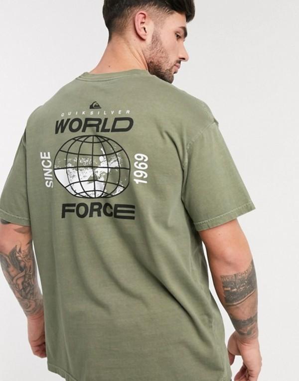 クイックシルバー メンズ シャツ トップス Quiksilver Global Groove t-shirt in khaki Kalamata
