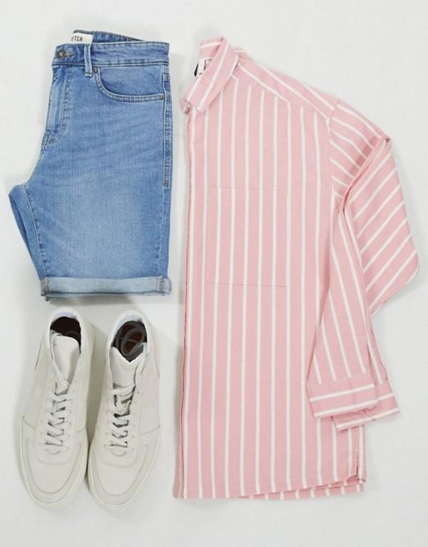 エイソス メンズ シャツ トップス ASOS DESIGN 90s oversized shirt in pink oxford stripe Pink