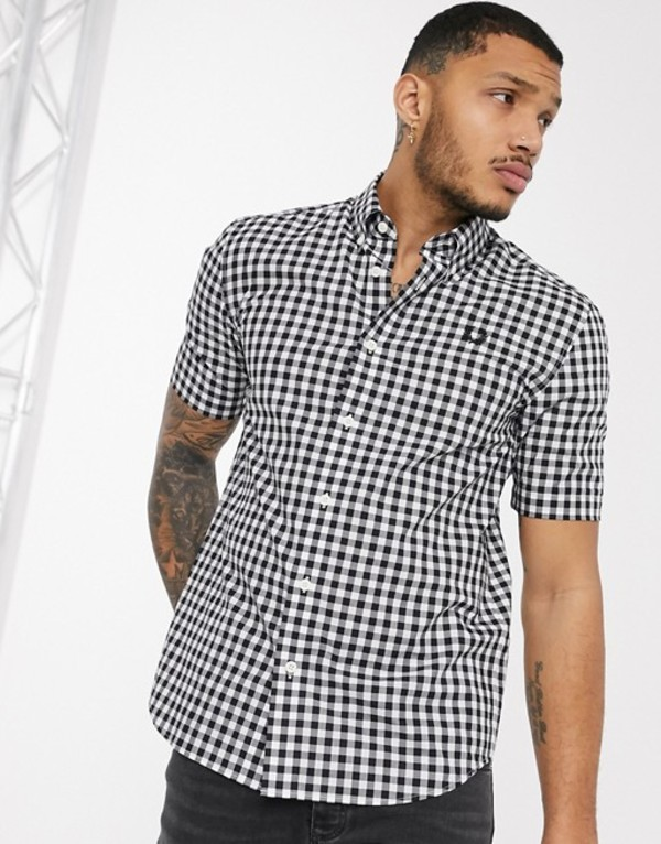 フレッドペリー メンズ シャツ トップス Fred Perry short sleeve gingham shirt in black and white White