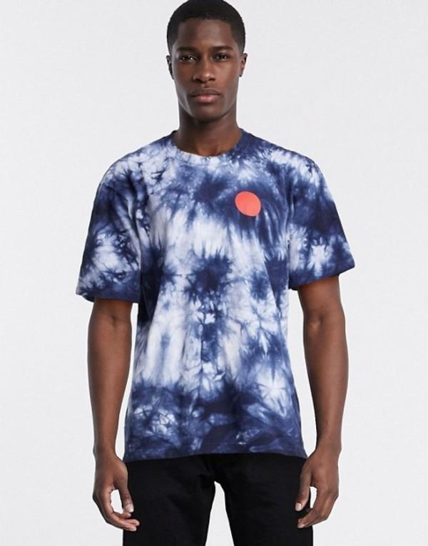 エドウィン メンズ シャツ トップス Edwin Japanese Sun tie dye t-shirt in navy Navy blazer