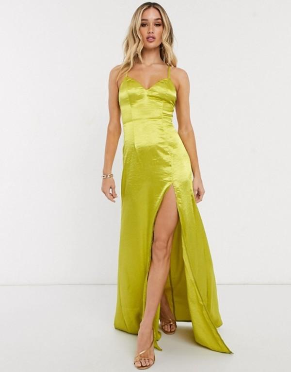 クラブエル ロンドン レディース ワンピース トップス Club L cami strap satin maxi dress with thigh split in chartreuse Chartreuse