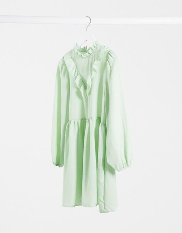 エイソス レディース ワンピース トップス ASOS DESIGN frill neck detail smock mini dress in mint green Mint