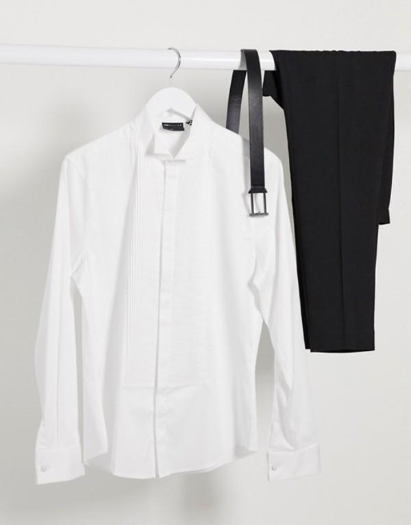 エイソス メンズ シャツ トップス ASOS DESIGN slim fit sateen shirt with pleated front bib & wing collar in white White