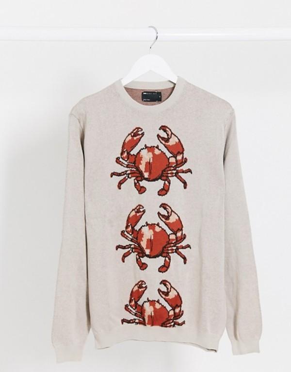 エイソス メンズ ニット・セーター アウター ASOS DESIGN knitted two-piece sweater with crab design Brown