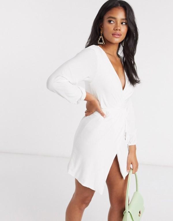 クラブエル ロンドン レディース ワンピース トップス Club L slinky wrap dress with plunge front in white White