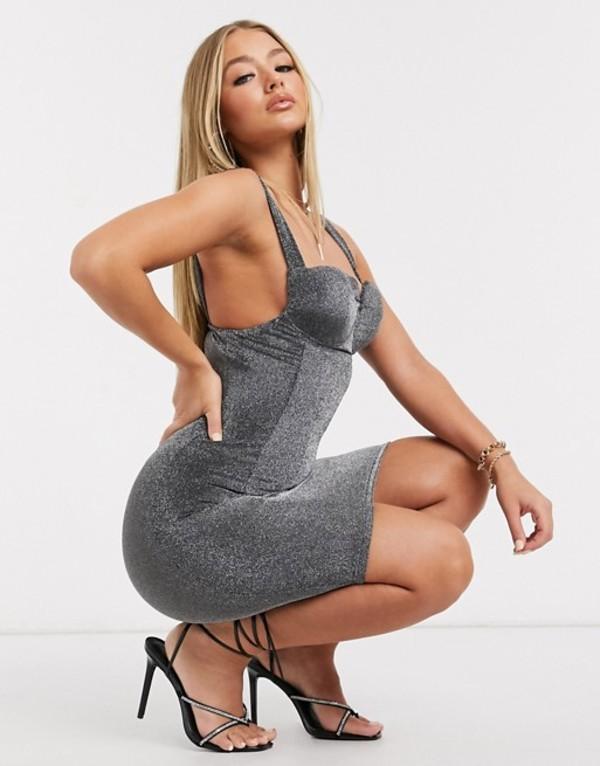 アックスパリ レディース ワンピース トップス AX Paris metallic one shoulder midi dress Silver