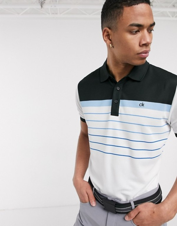 カルバンクラインゴルフ メンズ シャツ トップス Calvin Klein Golf Flint polo shirt in white with blue stripes White