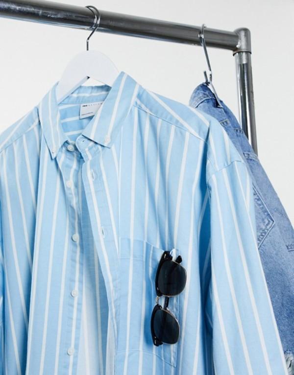 エイソス メンズ シャツ トップス ASOS DESIGN 90s oversized shirt in blue oxford stripe Blue